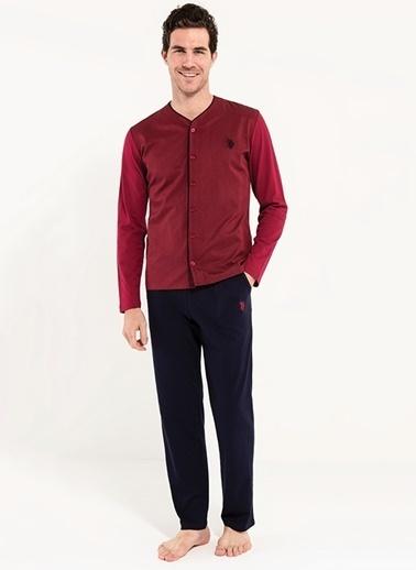 U.S. Polo Assn. Boydan Patlı Pijama Takım Bordo